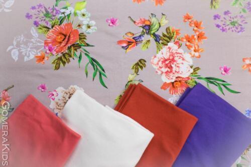 Puuvillane  trikotaaž suured lilled beežil